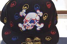 New Era Skulls Fitted Hat Cap Black White Sz 7 1/8 or 7 3/8