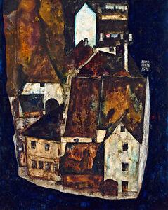 Dead City III by Egon Schiele A1+ High Quality Canvas Print