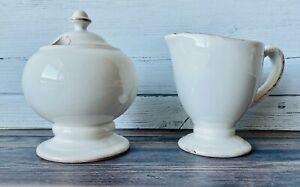 Pottery Barn Rustic Blanca Cream & Sugar Set ~ Never Used MINT Condition