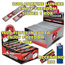 Cartine Lunghe Enjoy Freedom SILVER 1 BOX + FILTRI DI CARTA filtro 1 BOX + BIC