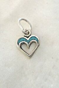 Tiny 8x8mm Sterling Silver Blue chip Inlayed Stone Heart Charm