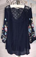 NEW Plus Size 1X XL Navy Blue Blouse Embroidered Lace Crochet Top Shirt