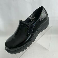 Cherokee Authentic Workwear Peacock Black Patent Leather Clog Nursing Shoes 7.5M