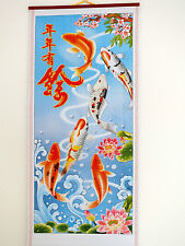 CHINESE CANE BAMBOO WALL HANGING FENG SHUI SCROLL KOI CARP FISH PICTURE 5-8