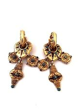 JACKY DE G. PARIS  BOUCLES D'OREILLE VINTAGE METAL DORE & EMAIL BLEU EARRINGS