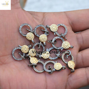 Pave Diamond Lobster Clasp Lock Gold Plated Jewelry 925 Sterling Silver Finding