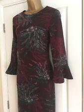 NEXT Ladies Purple Floral Calf Length Midi Dress Size 8 Tall