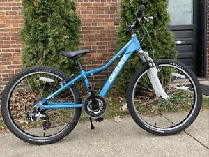 """Giant AREVA 24"""" Step-Through Baby Blue Bicycle For Girls w/ Crane Creek Headset"""
