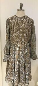 "1970s Beige/Brown Luxury Vintage Brand ""Cresta Couture"" Paisley Dress, 38"" Bust"