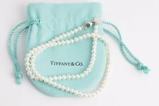 """16"""" Tiffany & Co. Pearl Necklace 925 Sterling Silver + Bag"""