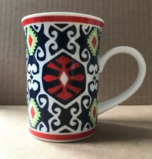 Vera Bradley coffee mug Aztec Tribal Blue Red Green White Cup