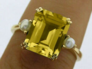 R241 Genuine 9K Solid Gold Natural Citrine & Pearl Solitaire Ring your size