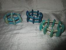 Armband  3 er Set Holz und Kunstperlen Türkis Blau Beige Dehnbar Sommer