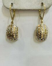 18k Solid Yellow Gold Two Tone Dangle  Earrings 4.80Grams