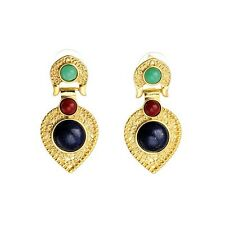 ANTHROPOLOGIE BEAUTIFUL CABOCHON LOOK BLUE GREEN GOLD DROP DANGLE EARRINGS NEW