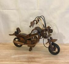 Large Dark Wood Motorbike Wooden Motorcycle Ornament Handmade 28cm Long