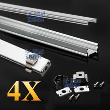 4x 1M Alloy Channel Aluminum Bar Aluminum Profile For LED Strip Light With Cover