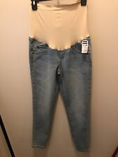 NWT a:glow Maternity Light Blue Ankle Jeans With Embellished Sides Down Leg Sz6