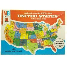 Vtg 1975 Milton Bradley MB United States Map on Wood Puzzle 100% COMPLETE 2 Maps