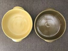 Vtg Bybee Pottery Lot Of 2 Bowl Bakers Dishes W/ Handles Yellow  Green/Brown