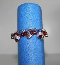 BRACELET Red Beads & Hearts Silvertone Locks and Chains Crabclaw clasp (B221)