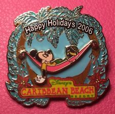 Disney Pin - Mickey Mouse Hammock Caribbean Beach Resort Happy Holidays 2006 Le