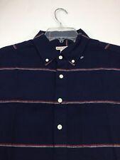 NWT Merona Mens Small Blue Short Sleeve Linen Blend Red Striped Polo Shirt