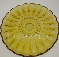 Indiana Amber Glass Serving Dish  Plate Scalloped Edge Vintage NICE