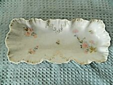 Germany Porcelain Rectangular Ruffled Dish Porcelain with Florals