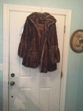 JONES NEW YORK Faux Fur Swing Coat Jacket Women's Medium Brown Sable Soft