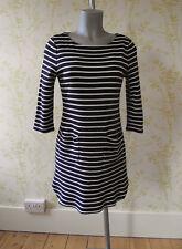 PHASE EIGHT navy blue & white nautical stripe tunic dress with pockets, UK 12