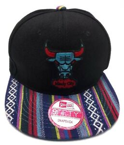 CHICAGO BULLS black (with patterned brim) adjustable cap / hat wool blend S / M