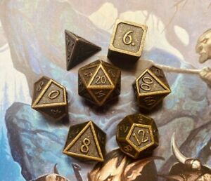 Dwarven Gold Metal Dice Set | Polyhedral D&D Dice Set for Dungeons and Dragons