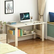 Wood Computer Desk Pc Laptop Table Study Workstation Wood Home Office w/Shelf