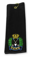 Tri-Fold Black Golf Towel with Embroidered Crest PERSONALISED with any name