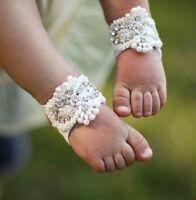 Newborn Baby Girl Kids Infant Headband Crystal Foot Flower Hair Band-Accessor ¾Q