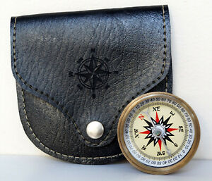 Antique Maritime Brass Pocket Compass Hiking Camping With Black Leather Case