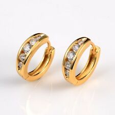 Wedding Earrings 18k Yellow Gold Filled Women Charms Hoops 15mm Fashion Jewelry