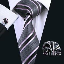 SN-226 Men's Grey Stripes Silk Tie 100% Jacquard Woven Silk Party Neckties Set
