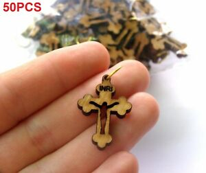 Wood Olive Cross Pendant Necklace Holy Land Bethlehem  Crosses Rosary Hand Made