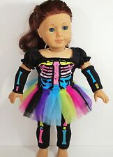 "HALLOWEEN COSTUME FOR AMERICAN GIRL DOLL 18"" TOP TUTU LEGGINGS CLOTHES"
