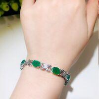 Silber 925 Armband Smaragd Edelstein 18+3cm Hochzeit Armreif Damen Geschenk Neu