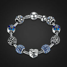 20cm 925 Sterling Silver Plated Charm Bracelet w LOVE STORY Blue European Charms