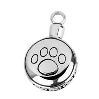 Round Paw Pet Ash Holder Cremation Urn Keepsake Pendant for Necklace Silver