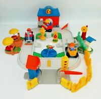 Fisher Price Little People Fun Sounds Track Station Village set + Figure Bundle