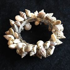 Natural Seashell Napkin Rings Set of 4 Wire Wrapped Metal Rings.