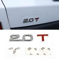 3D 2.0T Abziehbild Aufkleber Briefe Kofferraum Rückseite Emblem für VW BMW Ford