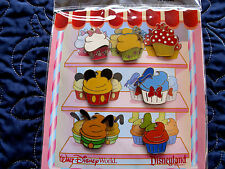 Disney * MICKEY & FRIENDS as BAKERY CUPCAKES * New in Package 7 Pin Booster Set