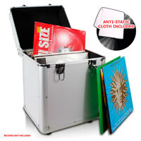 "LP 100 x 12"" Vinyl Record Box Storage DJ Case SILVER with Anti-Static Cloth"