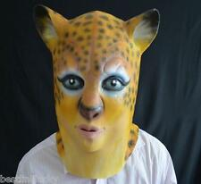 Latex Animal Wild Cat Cheetah Leopard Mask Fancy Dress Prop Adult Carnival Party